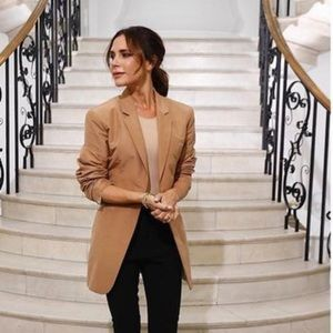 Sag Harbor Wool Camel Color Single Button Blazer